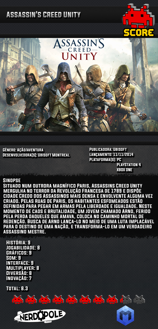 score 07 Review do Jogo Assassin's Creed Unity