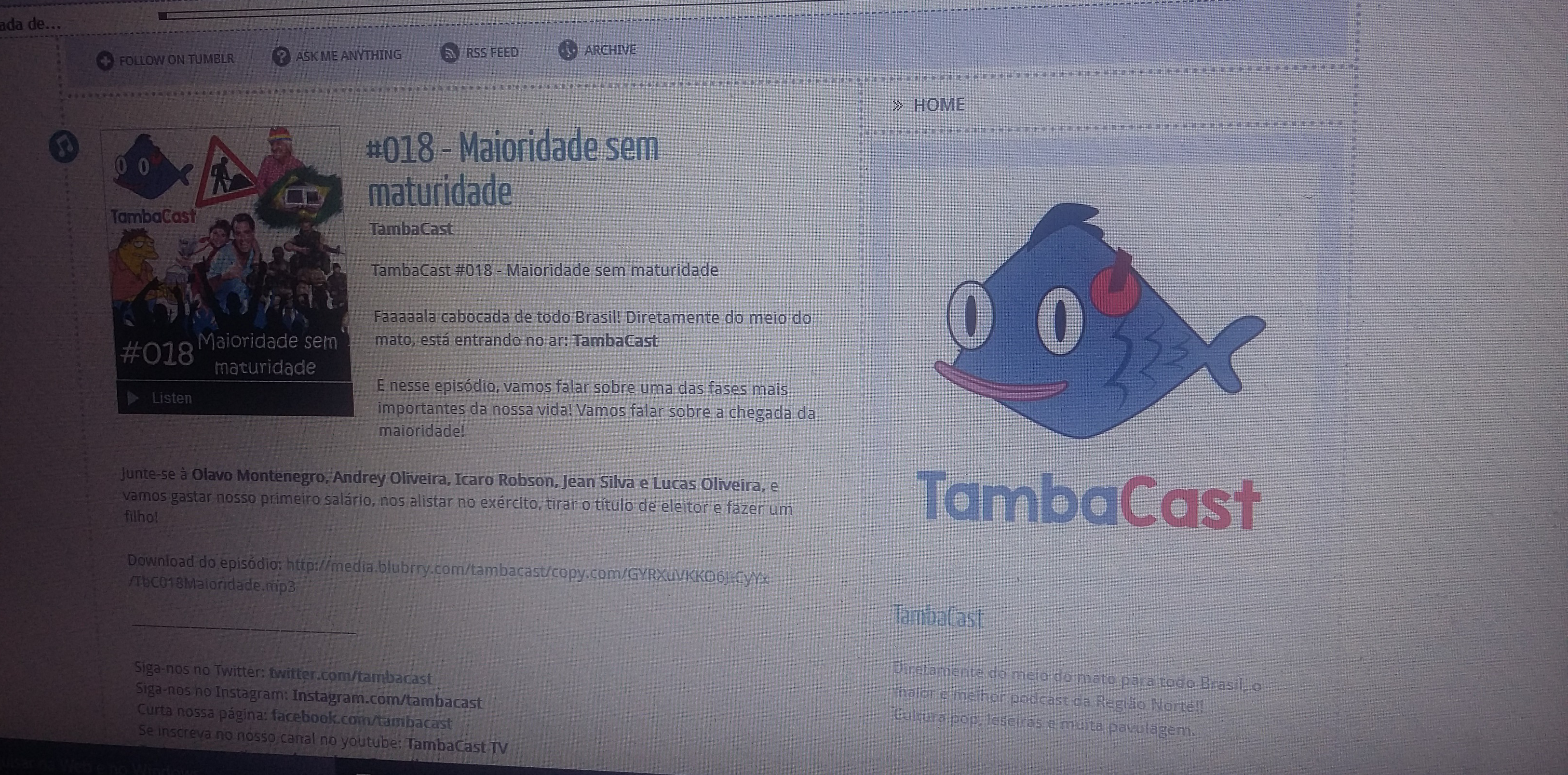 Entrevistamos o Podcast Tambacast
